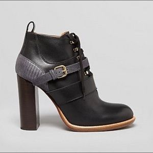 CHLOE Belted Lace-Front Leather Ankle Boots